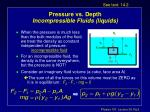 pressure vs depth incompressible fluids liquids
