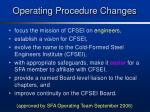 operating procedure changes