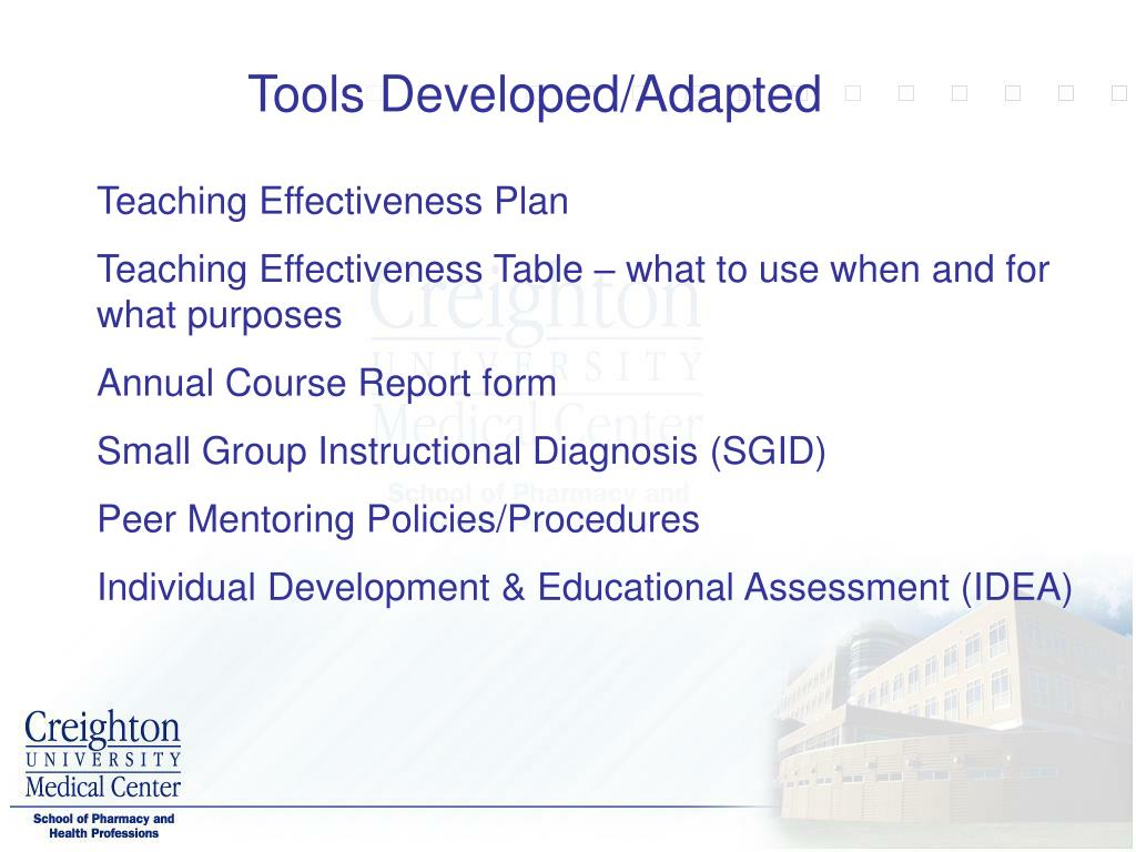 Tools Developed/Adapted