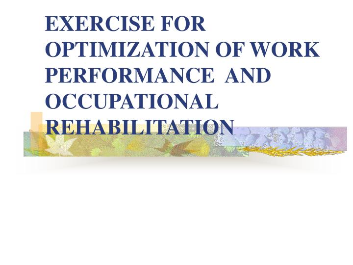 exercise for optimization of work performance and occupational rehabilitation n.