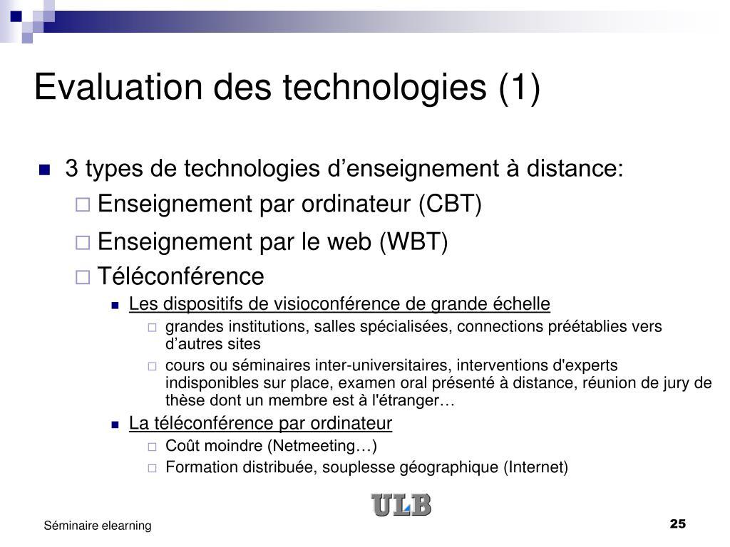 Evaluation des technologies (1)