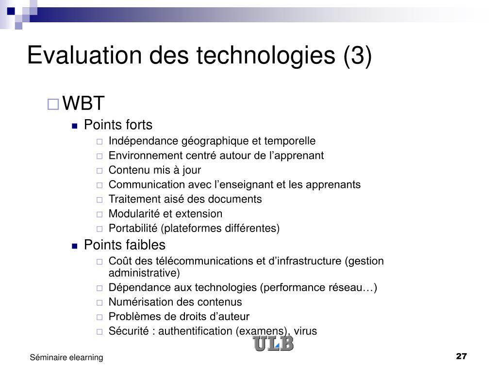 Evaluation des technologies (3)