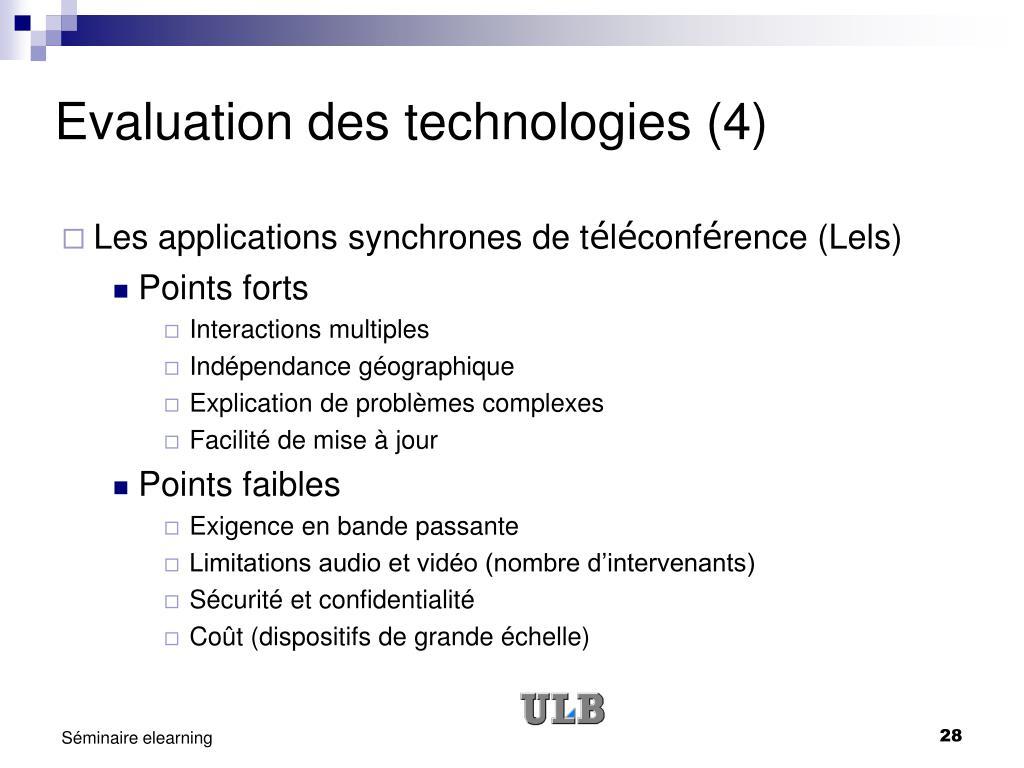 Evaluation des technologies (4)