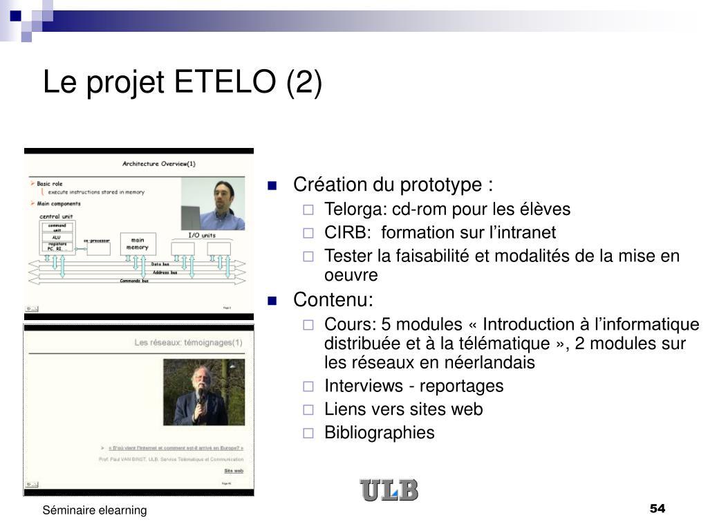 Le projet ETELO (2)