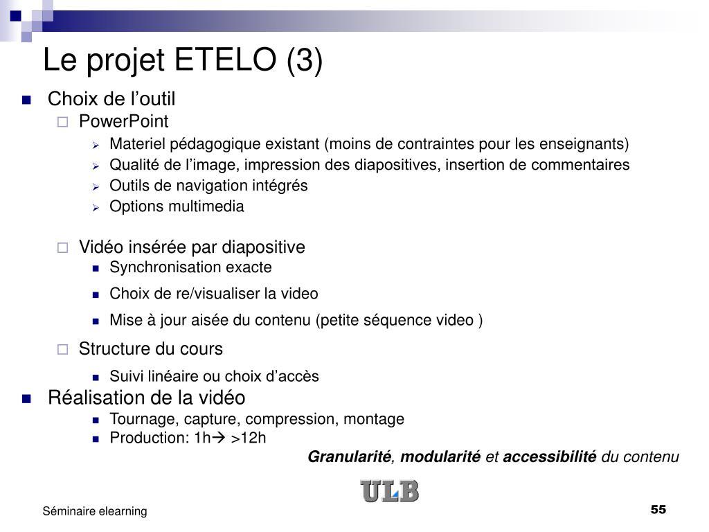 Le projet ETELO (3)