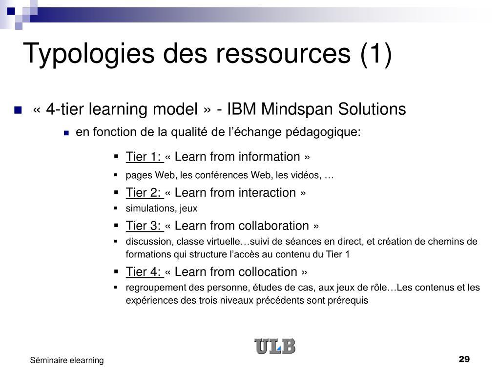 Typologies des ressources (1)