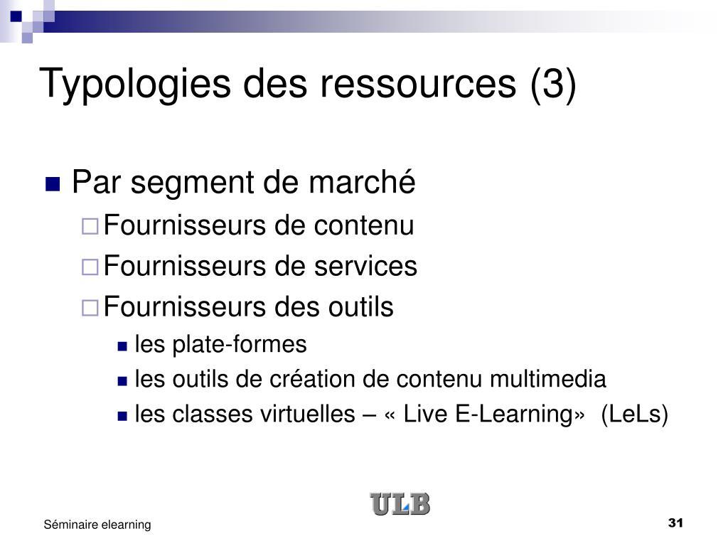Typologies des ressources (3)