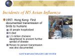 incidents of h5 avian influenza
