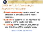 osha 1910 134 standards for respiratory protection