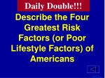 describe the four greatest risk factors or poor lifestyle factors of americans