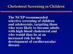 cholesterol screening in children