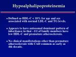 hypoalphalipoproteinemia