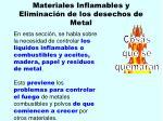 materiales inflamables y eliminaci n de los desechos de metal105