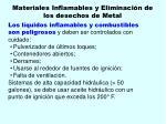 materiales inflamables y eliminaci n de los desechos de metal106