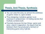 thesis anti thesis synthesis