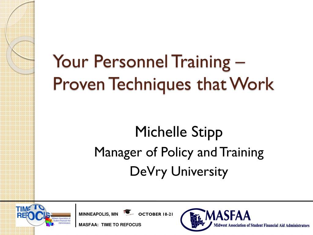 your personnel training proven techniques that work l.