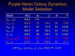 purple heron colony dynamics model selection