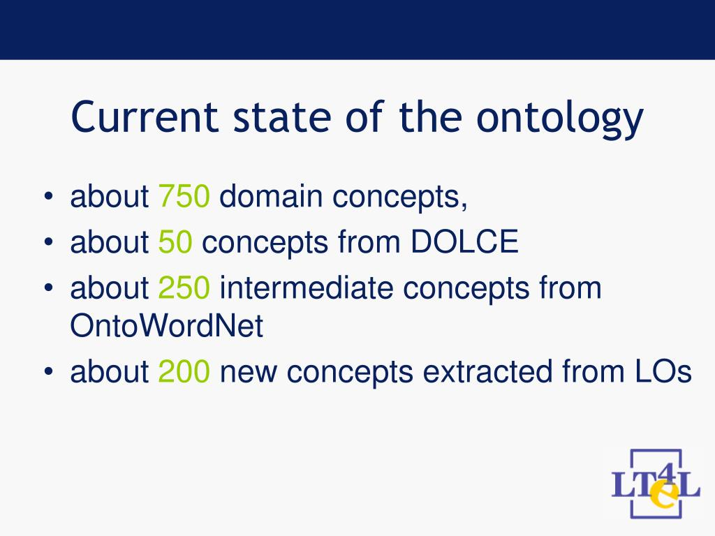 Current state of the ontology
