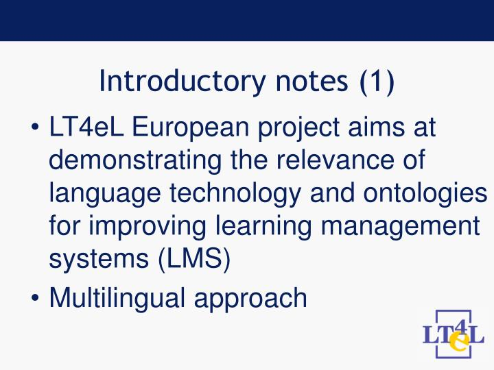 Introductory notes 1