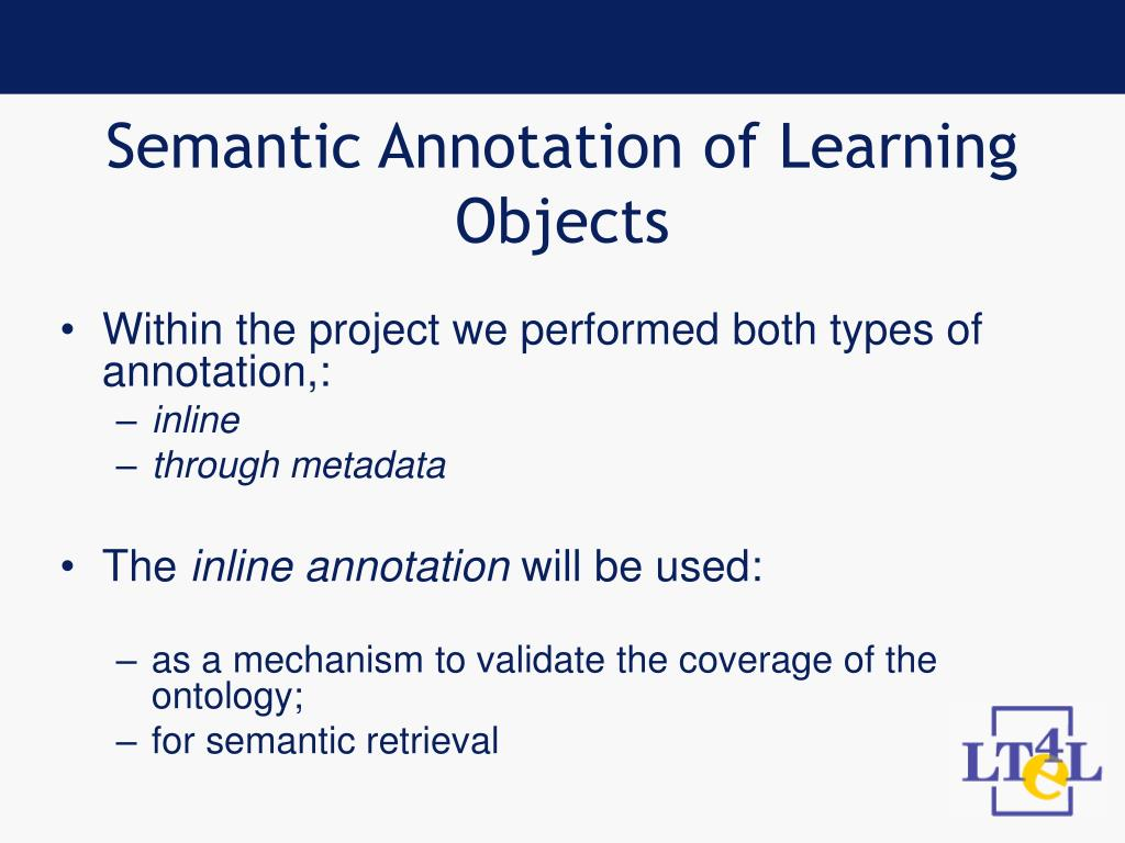 Semantic Annotation of Learning Objects