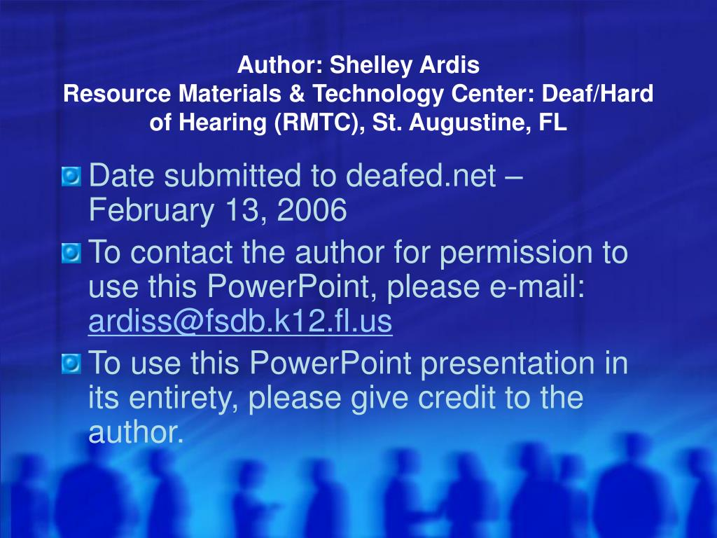 author shelley ardis resource materials technology center deaf hard of hearing rmtc st augustine fl l.