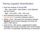 tracing linguistic diversification