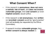 what consent when