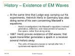 history existence of em waves