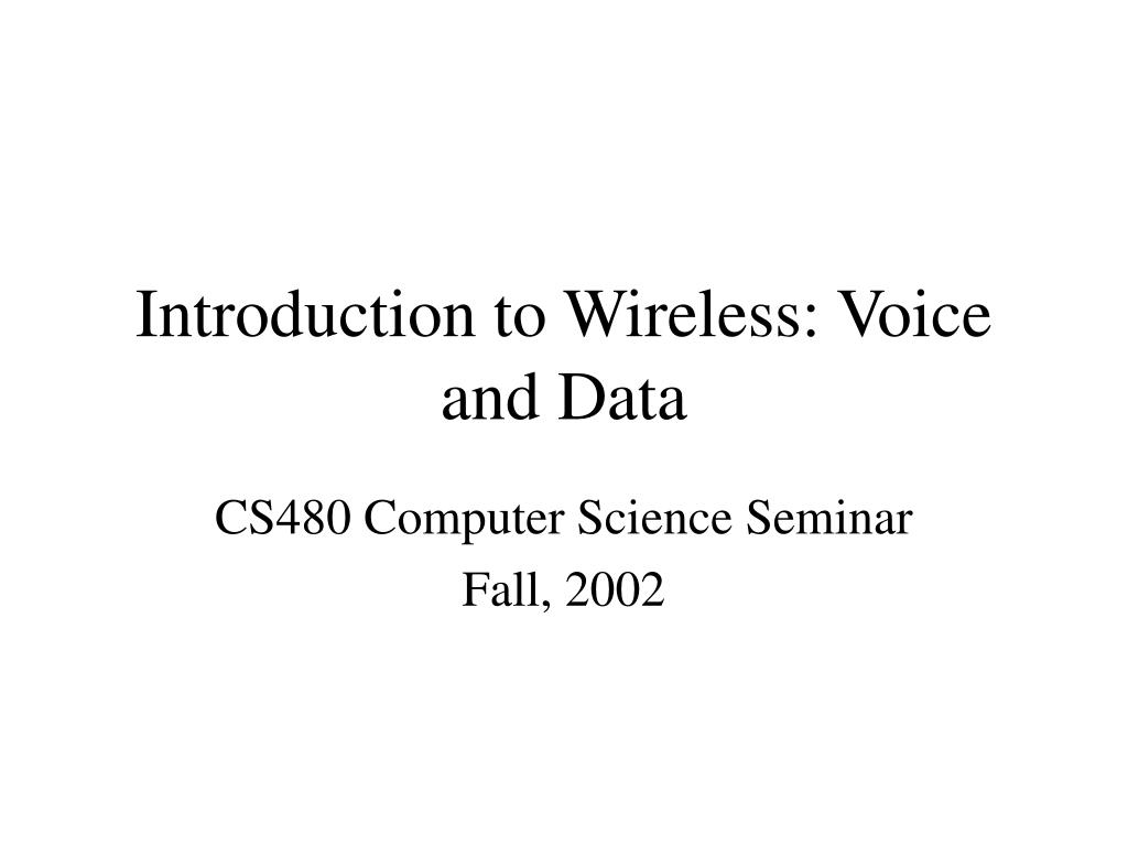 introduction to wireless voice and data l.