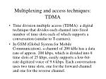 multiplexing and access techniques tdma