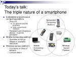 today s talk the triple nature of a smartphone