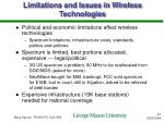 limitations and issues in wireless technologies