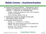mobile comms anywhere anytime