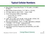 typical cellular numbers