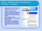 ncsa help keep kids connected and protected campaign