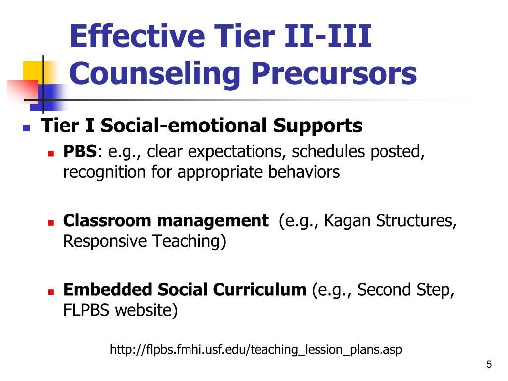 Effective Tier II-III Counseling Precursors