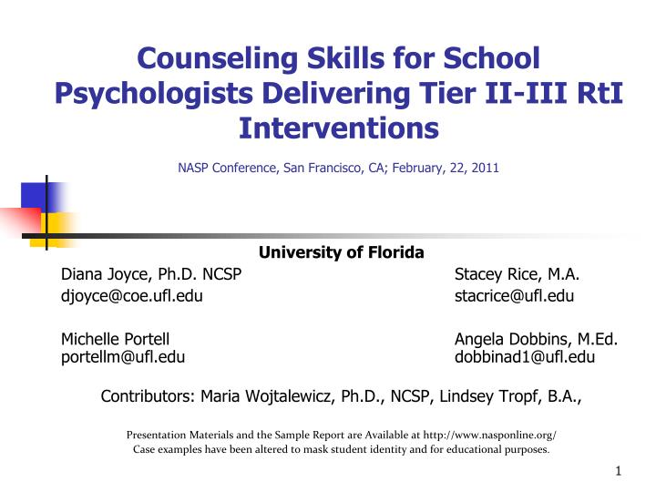Counseling Skills for School Psychologists Delivering Tier II-III RtI Interventions