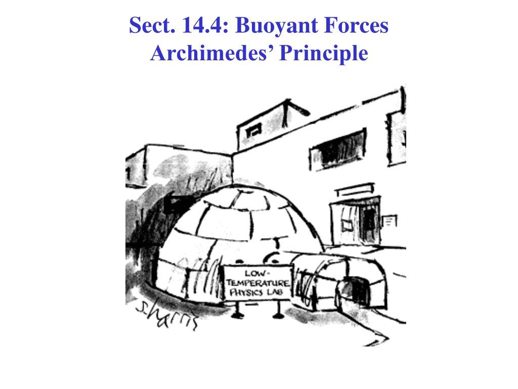 sect 14 4 buoyant forces archimedes principle l.