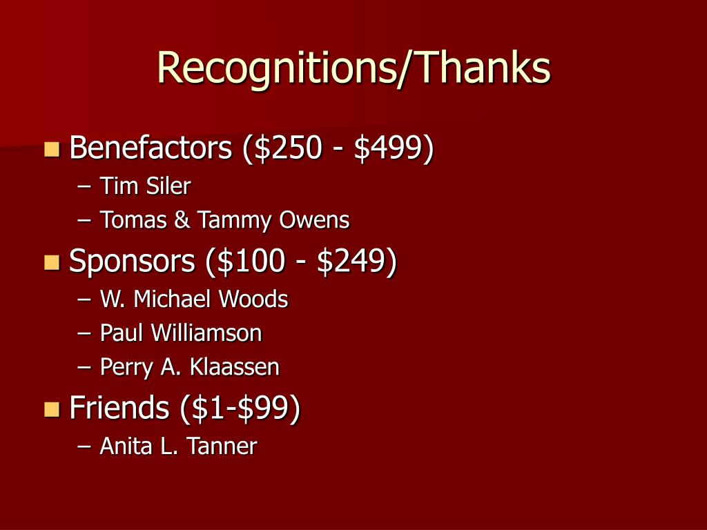 Recognitions/Thanks