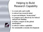 helping to build research capability