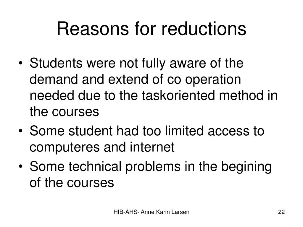 Reasons for reductions