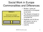 social work in europe commonalities and differences