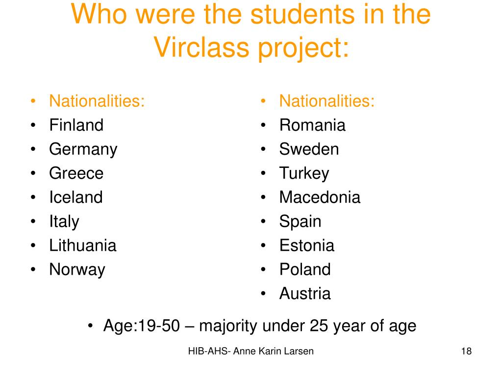 Nationalities: