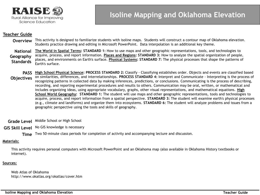 PPT - Isoline Mapping and Oklahoma Elevation PowerPoint Presentation