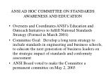 ansi ad hoc committee on standards awareness and education