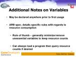 additional notes on variables