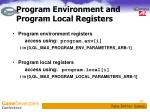 program environment and program local registers