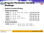 program parameter variable bindings