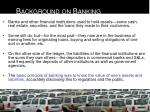 background on banking