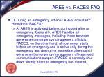 ares vs races faq